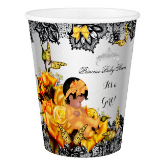 African American Baby Shower Girl Butterfly Yellow Paper Cup