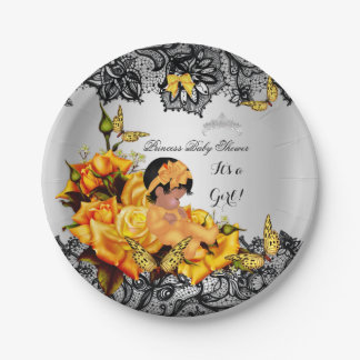 African American Baby Shower Girl Butterfly Yellow Paper Plate