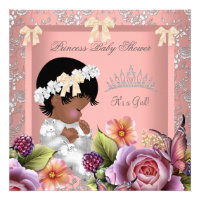 African American Baby Shower Girl Coral Pink Rose
