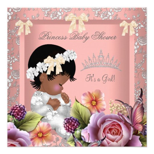 African American Baby Shower Girl Coral Pink Rose Personalized Invitation