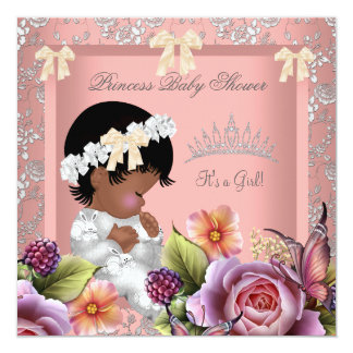 """African American Baby Shower Girl Coral Pink Rose 5.25"""" Square Invitation Card"""