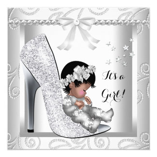 African American Baby Shower Girl Gray White Shoe 5.25x5.25 Square Paper Invitation Card
