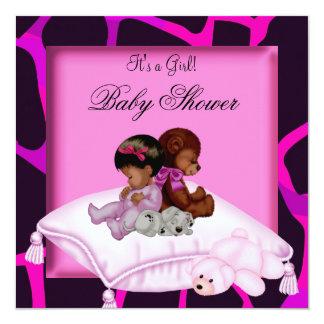 African American Baby Shower Girl Hot Pink Bear Custom Invitations