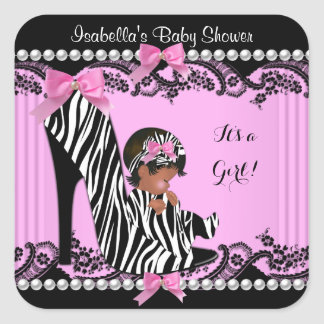 African American Baby Shower Girl Hot Pink Zebra 3 Square Sticker