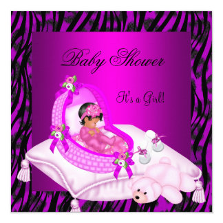 African American Baby Shower Girl Hot Pink Zebra 5.25x5.25 Square Paper Invitation Card