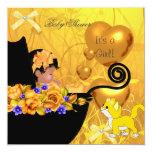 African American Baby Shower Girl Kitten Orange Card
