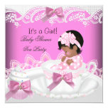"""African American Baby Shower Girl Pink Baby Teacup 5.25"""" Square Invitation Card"""