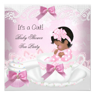 African American Baby Shower Girl Pink Baby Teacup 5.25x5.25 Square Paper Invitation Card