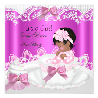 African American Baby Shower Girl Pink in Teacup Card