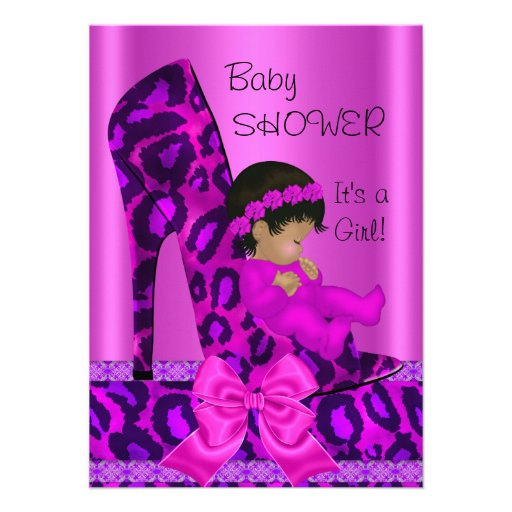 African American Baby Shower Girl Pink Leopard Announcement
