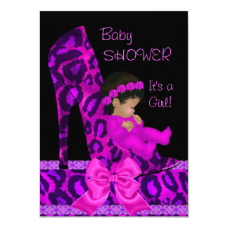 "African American Baby Shower Girl Pink Purple Shoe 4.5"" X 6.25"" Invitation Card"