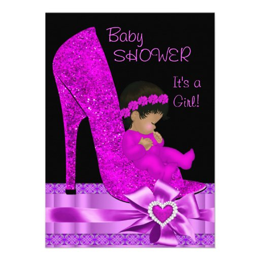 African American Baby Shower Girl Pink Purple Shoe Personalized Announcement