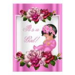 African American Baby Shower Girl Pink Roses Personalized Announcement