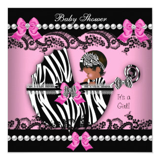 """African American Baby Shower Girl Pink Zebra 5.25"""" Square Invitation Card"""