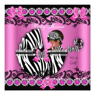 African American Baby Shower Girl Pink Zebra Pram 5.25x5.25 Square Paper Invitation Card