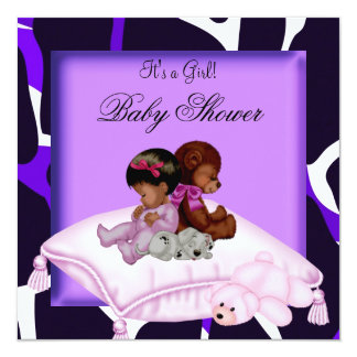 African American Baby Shower Girl Purple Card
