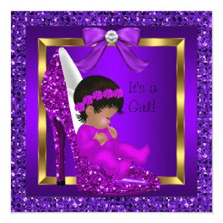 African American Baby Shower Girl Purple Glitter Card