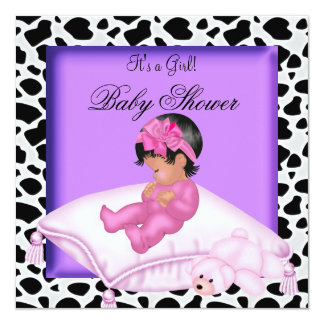 African American Baby Shower Girl Purple Pink Card