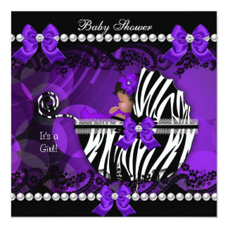 African American Baby Shower Girl Purple Zebra 2 Card