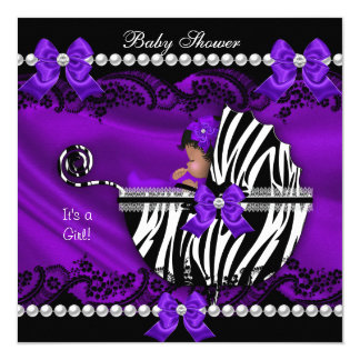 African American Baby Shower Girl Purple Zebra Card