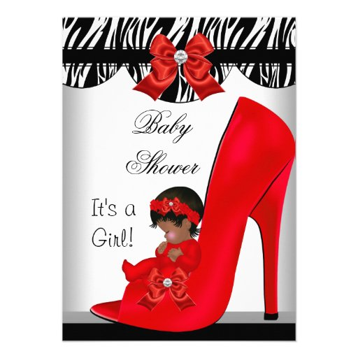 African American Baby Shower Girl Red Baby Shoe 2 Announcements