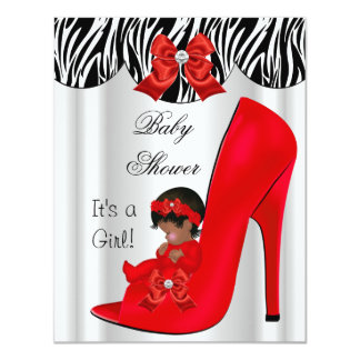 African American Baby Shower Girl Red Baby Shoe Card