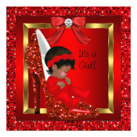 African American Baby Shower Girl Red Glitter Invites