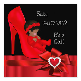 African American Baby Shower Girl Red Heart Shoe Card