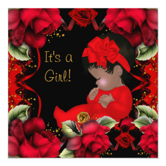 African American Baby Shower Girl Red Rose 5.25x5.25 Square Paper Invitation Card