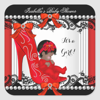 African American Baby Shower Girl Red Shoe Square Sticker