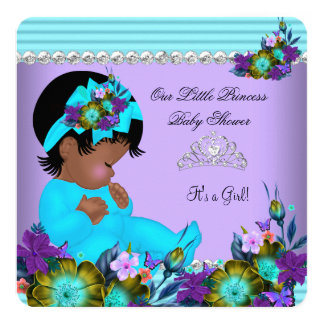 African American Baby Shower Girl Teal Blue Purple Card