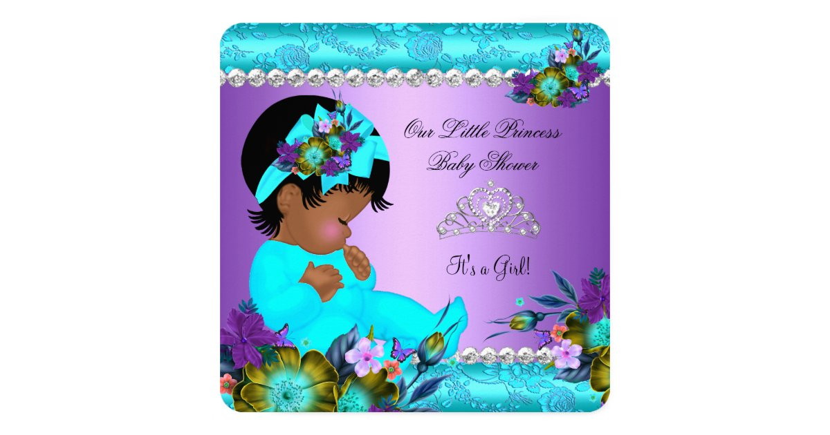 african american baby shower girl teal purple card zazzle