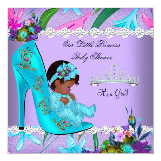 African American Baby Shower Girl Teal Purple 5.25x5.25 Square Paper Invitation Card