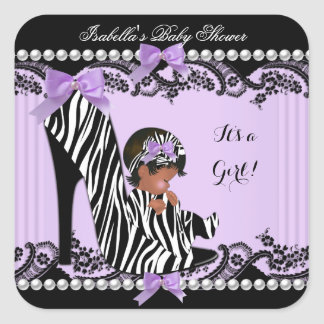 African American Baby Shower Girl Zebra Purple Square Sticker