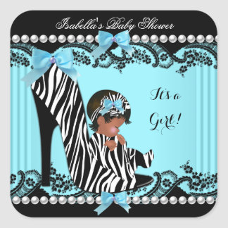 African American Baby Shower Girl Zebra Teal Square Sticker
