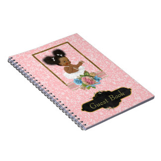 African American Baby Shower Guest Book Notebook