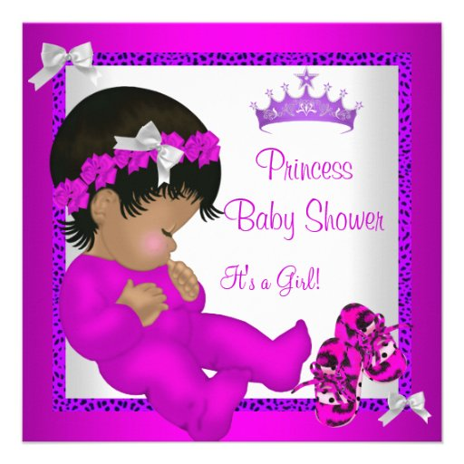 Personalized african american baby shower invitations african american baby shower purple pink leopard custom invitations filmwisefo