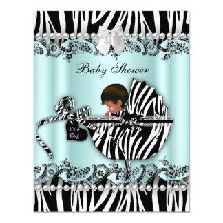 African American Baby Shower Zebra Boy or Girl 4.25x5.5 Paper Invitation Card