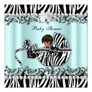 African American Baby Shower Zebra Boy or Girl 5.25x5.25 Square Paper Invitation Card