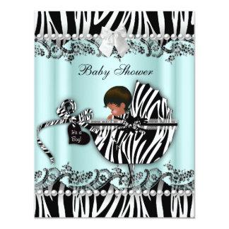 "African American Baby Shower Zebra Boy or Girl 4.25"" X 5.5"" Invitation Card"