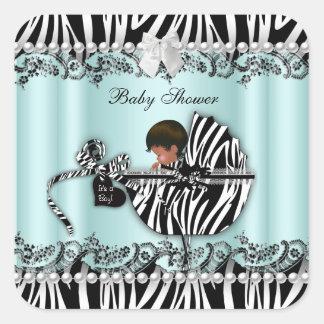 African American Baby Shower Zebra Boy or Girl Square Sticker