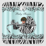 African American Baby Shower Zebra Boy or Girl Square Sticker