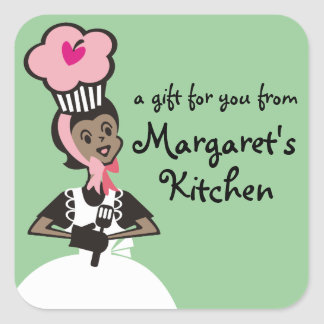 African American baker cupcake hat gift tag label Square Sticker