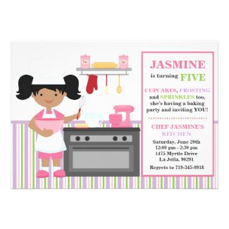 African American Baking Birthday Party Invitation