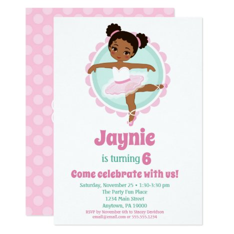 African American Ballerina Ballet Dancing Birthday Invitation