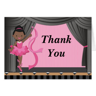 African American Ballerina Dance Party Thank You Cards