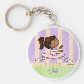 African American Ballerina Dancer Basic Round Button Keychain
