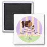 African American Ballerina Dancer 2 Inch Square Magnet