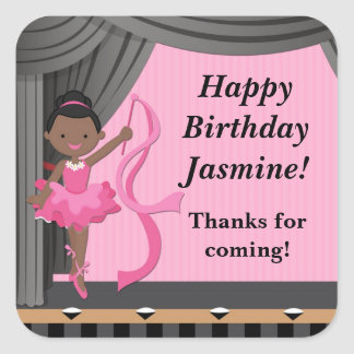 African American Ballet Dance Birthday Party Square Sticker