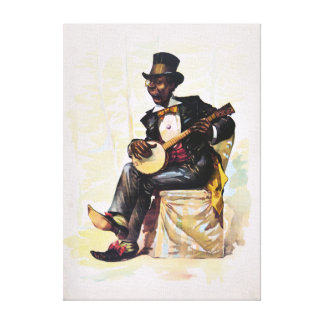 African American banjo player Vintage Lithograph Canvas Print